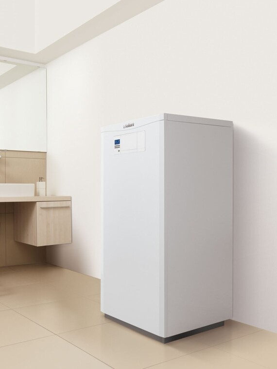 Vaillant ecoVIT gas fired condensing boiler standing in washroom